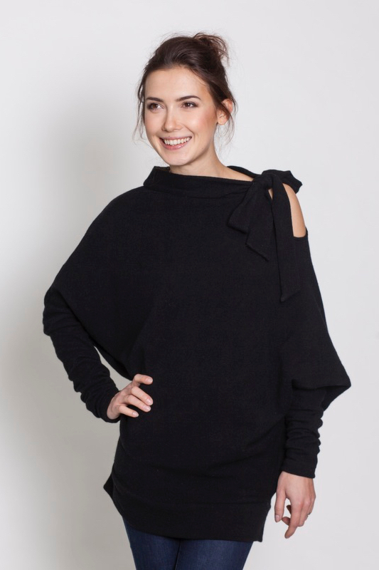 lemuse-black-asymmetrical-woolen-sweater-with-bow-