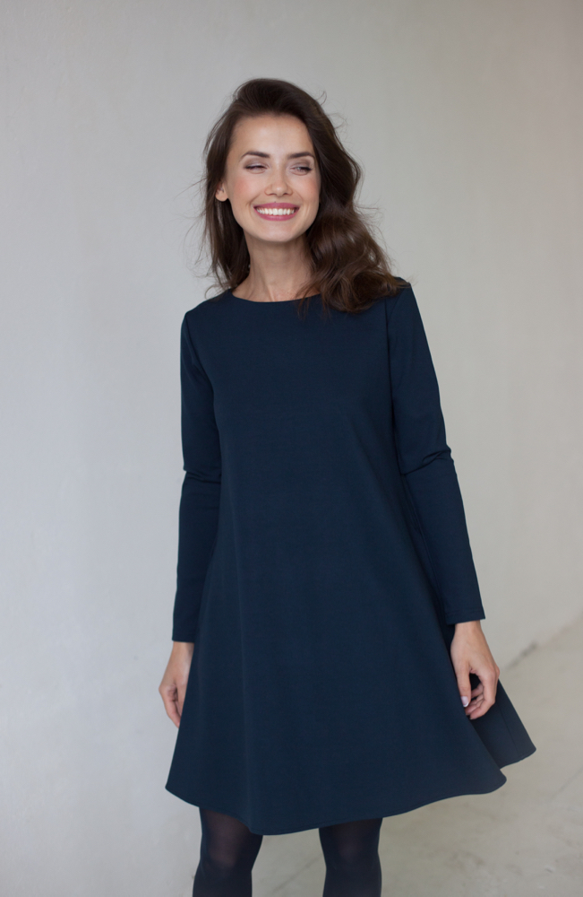 LeMuse deep blue CALMNESS dress with buttons