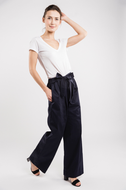 LeMuse deep blue LONG WIDE trousers-1