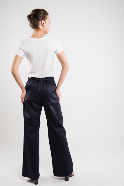 LeMuse deep blue LONG WIDE trousers-2