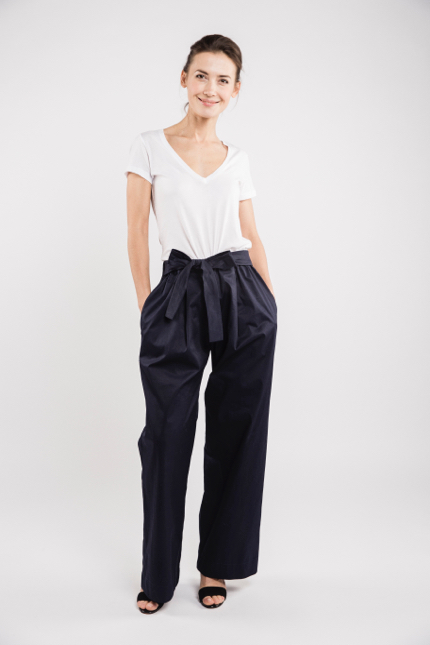 LeMuse deep blue LONG WIDE trousers