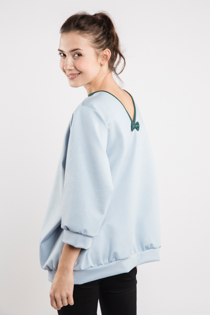 LeMuse sky blue BUBBLE bow blouse-1