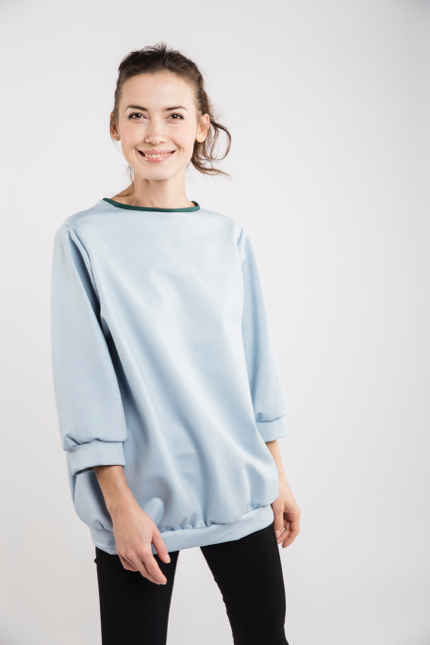 LeMuse sky blue BUBBLE bow blouse-3
