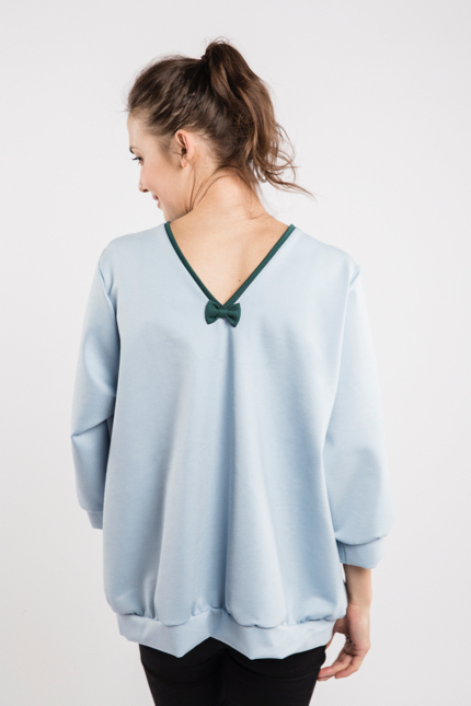 LeMuse sky blue BUBBLE bow blouse