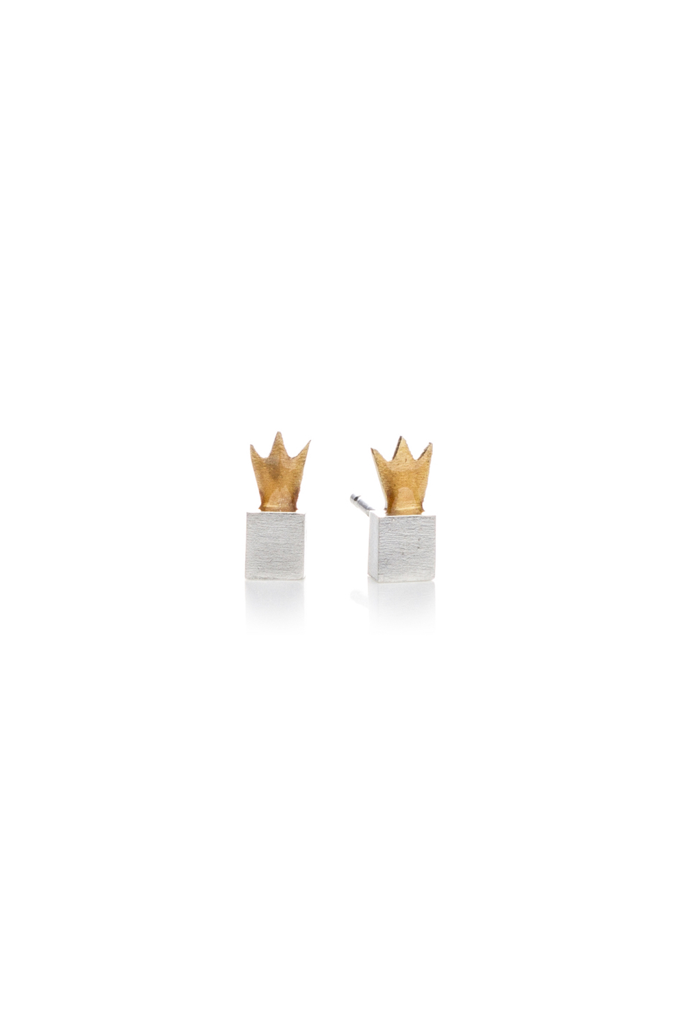 Kiss the Frog silver CROWN CUBES stud earrings