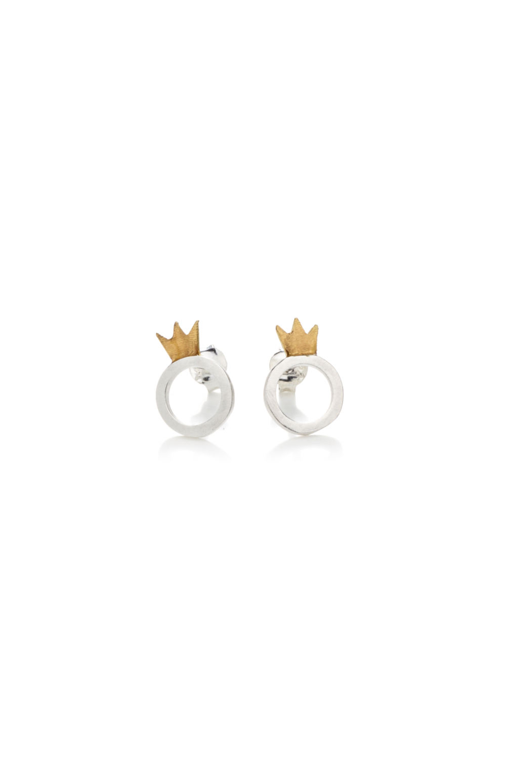 Kiss the Frog silver CROWN&ROUND stud earrings