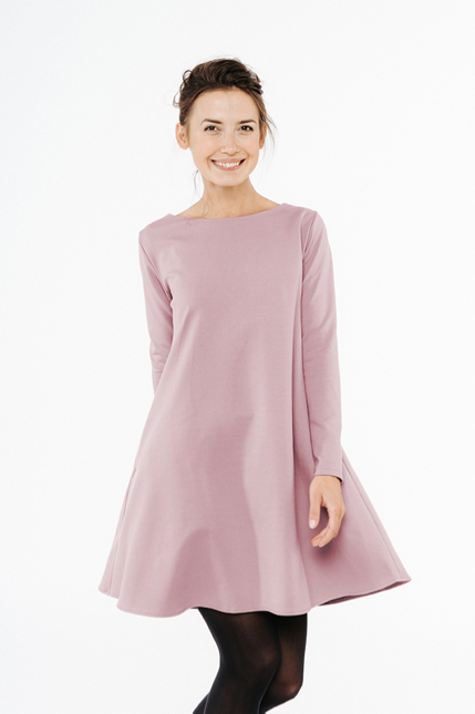 LeMuse dusty rose CALMNESS dress with buttons-1