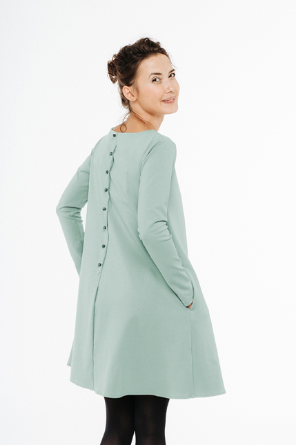 LeMuse mint CALMNESS dress with buttons-1