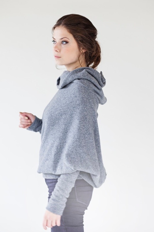 LeMuse gray ASYMMETRIC sweater with buttons