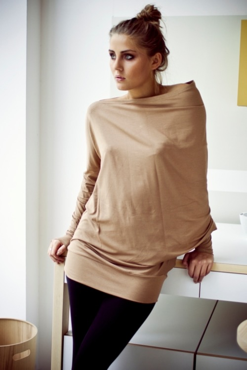 LeMuse capuccino MUSE asymmetric blouse with buttons
