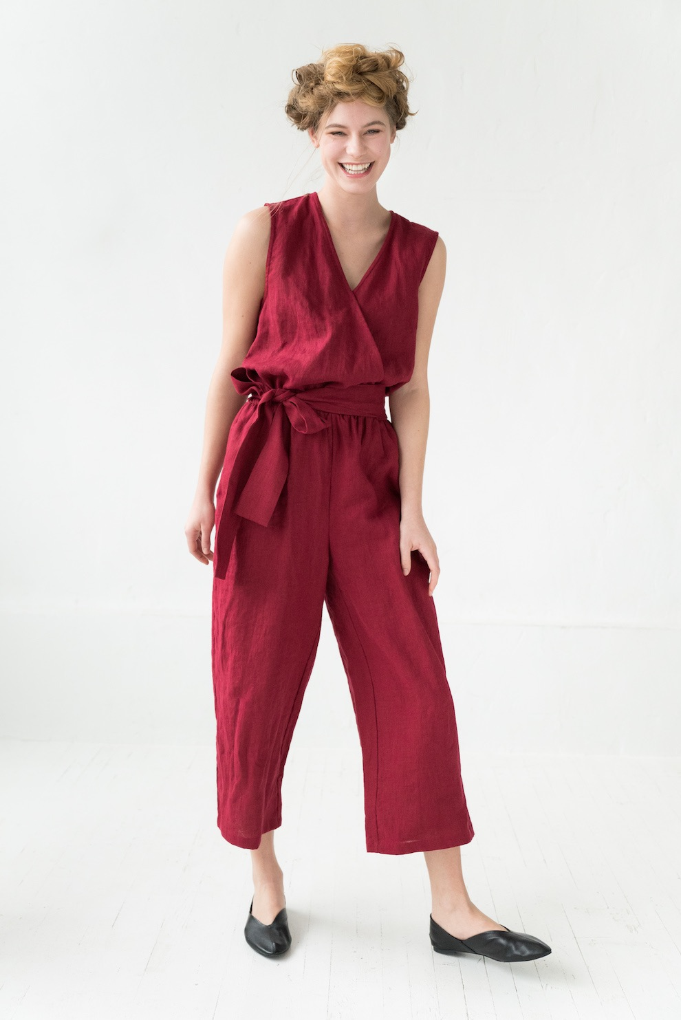LeMuse red PARIS linen jumpsuit