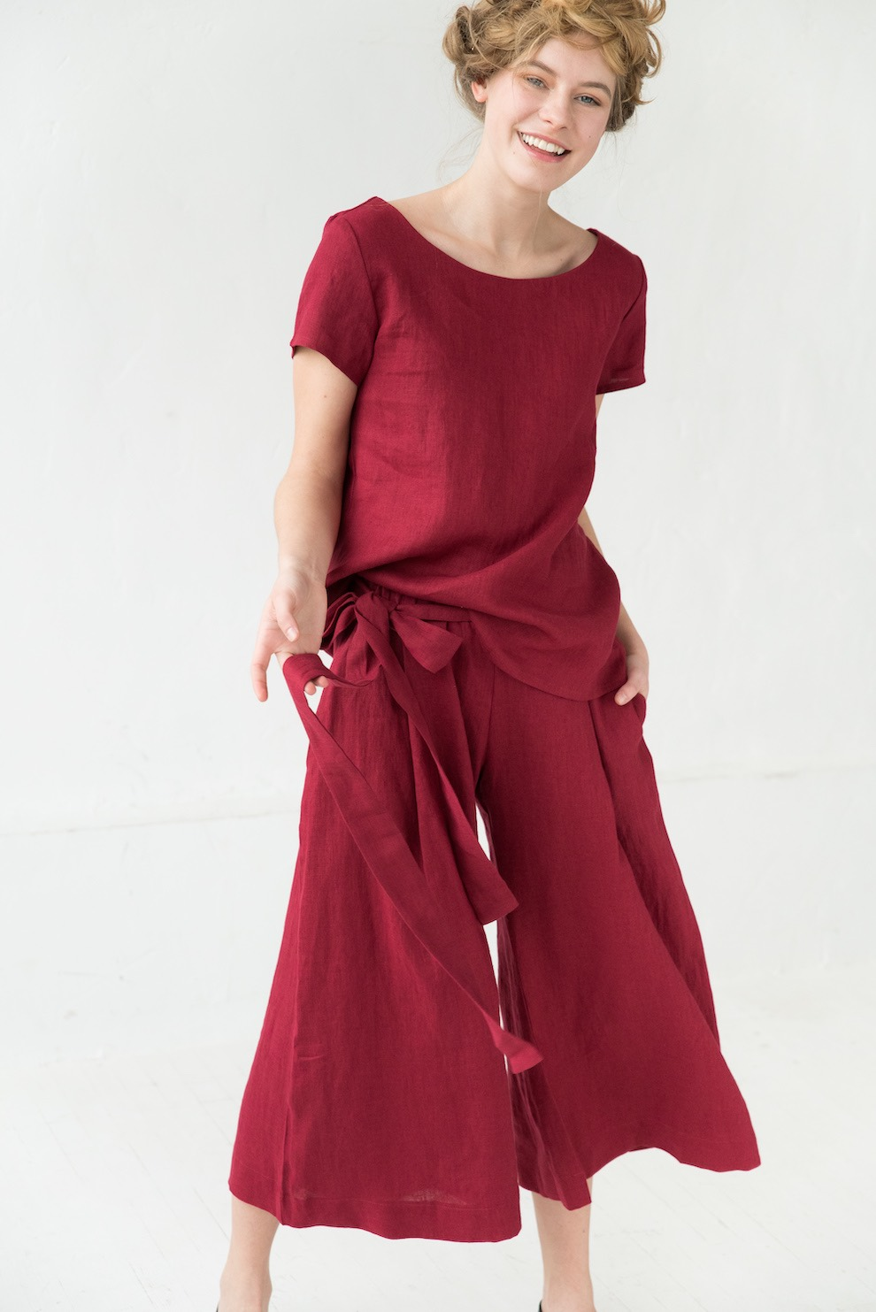 LeMuse red TREND linen trousers