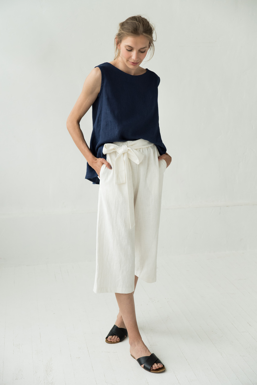 LeMuse white MIX&MATCH linen trousers