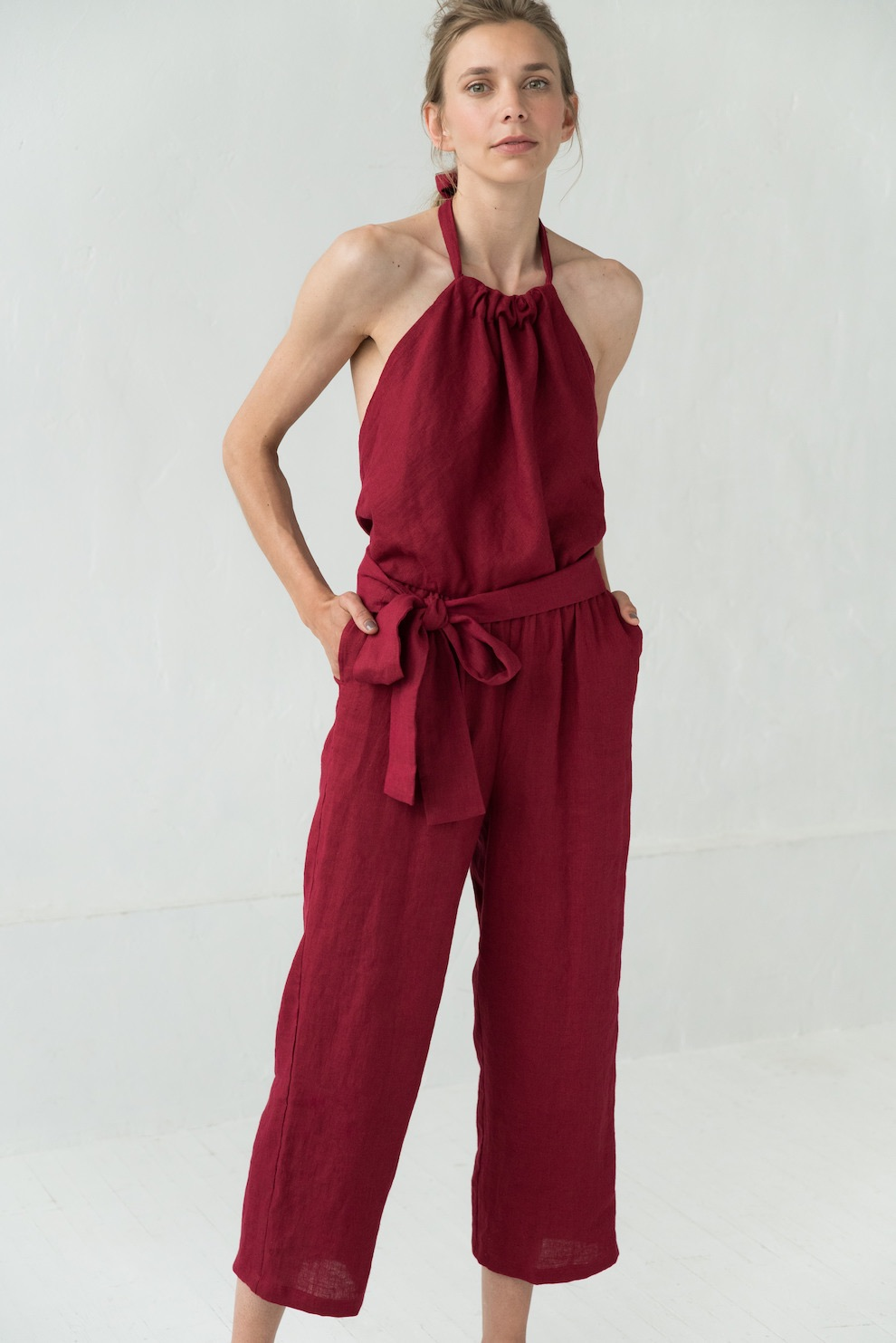 LeMuse red MAY linen jumpsuit