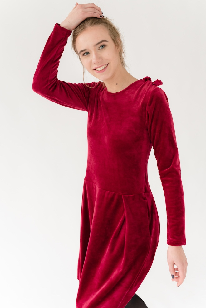 LeMuse red SOFIA BOW velvet dress